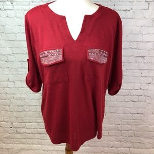 NWOT Faith And Joy Red Knit Top